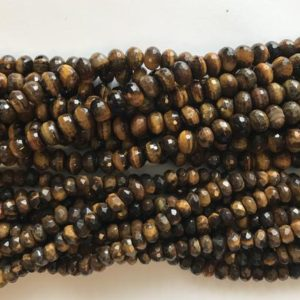 Shop Tiger Eye Faceted Beads! tiger eye 6x4mm 8x5mm 10x6mm faceted roundelle Gemstone Bead -15 inch strand | Natural genuine faceted Tiger Eye beads for beading and jewelry making.  #jewelry #beads #beadedjewelry #diyjewelry #jewelrymaking #beadstore #beading #affiliate #ad