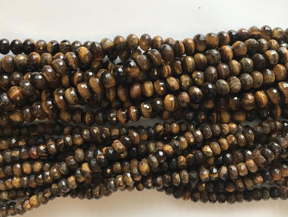 Tiger Eye 6x4mm 8x5mm 10x6mm Faceted Roundelle Gemstone Bead -15 Inch Strand