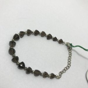 Shop Topaz Bracelets! 45 Cts Natural Smoky Topaz Faceted Pyramid Beaded Bracelet, 6mm To 8mm, 6 Inches, Black Beads, Gemstone Beads, Semiprecious Stone Beads   Natural genuine Topaz bracelets. Buy crystal jewelry, handmade handcrafted artisan jewelry for women.  Unique handmade gift ideas. #jewelry #beadedbracelets #beadedjewelry #gift #shopping #handmadejewelry #fashion #style #product #bracelets #affiliate #ad