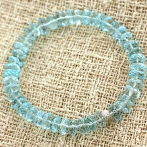 Shop Topaz Bracelets! Bracelet 925 sterling silver and Blue Topaz faceted Rondelle 8mm | Natural genuine Topaz bracelets. Buy crystal jewelry, handmade handcrafted artisan jewelry for women.  Unique handmade gift ideas. #jewelry #beadedbracelets #beadedjewelry #gift #shopping #handmadejewelry #fashion #style #product #bracelets #affiliate #ad