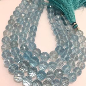 Shop Topaz Faceted Beads! 7 – 9 mm Blue Topaz Faceted Round Faceted Gemstone Beads Strand Sale / Semi Precious Beads / Blue Topaz / Faceted Beads / Round Beads Strand | Natural genuine faceted Topaz beads for beading and jewelry making.  #jewelry #beads #beadedjewelry #diyjewelry #jewelrymaking #beadstore #beading #affiliate #ad