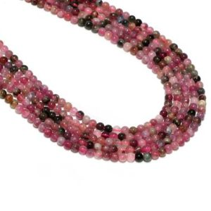 """Shop Tourmaline Necklaces! Multi color tourmaline,round beads,gemstone beads,tourmaline necklace,beaded necklace,knotted necklace,diy necklaces – 16"""" Full Strand 