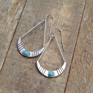 Shop Turquoise Earrings! Silver Boho Earrings, Turquoise and Silver Earrings, Bohemian Jewelry, Boho Jewelry | Natural genuine Turquoise earrings. Buy crystal jewelry, handmade handcrafted artisan jewelry for women.  Unique handmade gift ideas. #jewelry #beadedearrings #beadedjewelry #gift #shopping #handmadejewelry #fashion #style #product #earrings #affiliate #ad