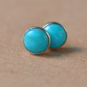 Turquoise Earrings, Sterling silver December birthstone Jewelry, 6mm | Natural genuine Gemstone jewelry. Buy crystal jewelry, handmade handcrafted artisan jewelry for women.  Unique handmade gift ideas. #jewelry #beadedjewelry #beadedjewelry #gift #shopping #handmadejewelry #fashion #style #product #jewelry #affiliate #ad