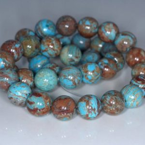 10MM Turquoise Calsilica Gemstone, Turquoise Blue Brown, Round 10MM Loose Beads 7.5 inch Half Strand (10233846-42) | Natural genuine round Gemstone beads for beading and jewelry making.  #jewelry #beads #beadedjewelry #diyjewelry #jewelrymaking #beadstore #beading #affiliate #ad