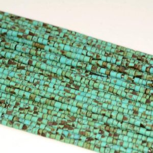 Shop Turquoise Round Beads! 2x2mm Turquoise Gemstone Green Brown Round Tube Heishi 2mm Loose Beads 12.5 inch Full Strand (80005621-473) | Natural genuine round Turquoise beads for beading and jewelry making.  #jewelry #beads #beadedjewelry #diyjewelry #jewelrymaking #beadstore #beading #affiliate #ad