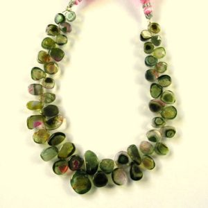 "Shop Watermelon Tourmaline Beads! Green/Watermelon tourmaline slice beads AA+ 6-12mm 8"" strand 