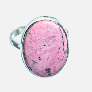Shop Rhodonite Rings! Womens Rhodonite Ring, 925 Silver Ring, Womens Jewelry, Birthday Gift, Affordable Ring, Gemstone Ring, Boho Ring, Dainty Ring, Oval Ring | Natural genuine Rhodonite rings, simple unique handcrafted gemstone rings. #rings #jewelry #shopping #gift #handmade #fashion #style #affiliate #ad