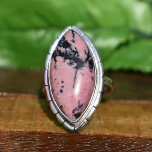 Shop Rhodonite Rings! Womens Rhodonite Ring, Natural Gemstone Ring, Marquise Rhodonite Jewelry, Pink Gemstone Ring, Made For Her, Pink Stone, Marquise Stone, Sale | Natural genuine Rhodonite rings, simple unique handcrafted gemstone rings. #rings #jewelry #shopping #gift #handmade #fashion #style #affiliate #ad