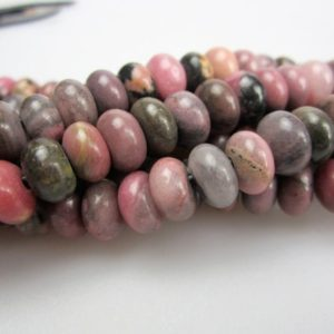 "Shop Rhodonite Rondelle Beads! 2.0mm Hole Rhodonite Smooth Rondelle Beads 5x8mm 6x10mm 8"" Strand 