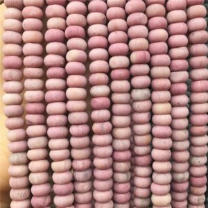 Shop Rhodonite Rondelle Beads! 8 mm Matte Pink Rhodonite Rondelle Beads, Gemstone Beads , Semi Precious Beads , Wholesale Beads,Full Strand | Natural genuine rondelle Rhodonite beads for beading and jewelry making.  #jewelry #beads #beadedjewelry #diyjewelry #jewelrymaking #beadstore #beading #affiliate #ad