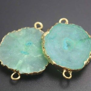 Shop Gemstone Chip & Nugget Beads! Green Druzy Agate Pendents in Gold Plated,Raw Quartz Crystal Stone Pendents,Necklace Pendents,Gemstone Handmade Jewelry,DIY Supplies | Natural genuine chip Gemstone beads for beading and jewelry making.  #jewelry #beads #beadedjewelry #diyjewelry #jewelrymaking #beadstore #beading #affiliate #ad