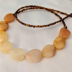 Shop Agate Necklaces! Statement ombré agate necklace. Long necklace, perfect for layering. Orange, yellow, cream & brown, gradient. Autumn, Thanksgiving hues | Natural genuine Agate necklaces. Buy crystal jewelry, handmade handcrafted artisan jewelry for women.  Unique handmade gift ideas. #jewelry #beadednecklaces #beadedjewelry #gift #shopping #handmadejewelry #fashion #style #product #necklaces #affiliate #ad