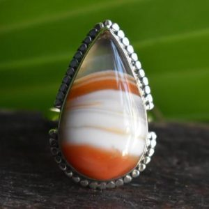 Shop Agate Rings! 925 silver banded agate ring-banded agate ring-natural agate ring-orange banded agate ring-handmade ring-ring for women-design ring | Natural genuine Agate rings, simple unique handcrafted gemstone rings. #rings #jewelry #shopping #gift #handmade #fashion #style #affiliate #ad