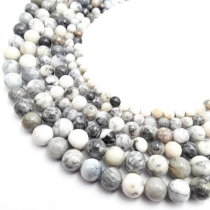 "Shop Agate Round Beads! Dendritic White Agate Smooth Round Beads 6mm 8mm 10mm 12mm 15.5"" Strand 