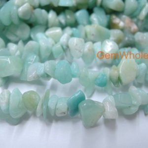 "Shop Gemstone Chip & Nugget Beads! 34"" Natural Amazonite chips ~5x8mm, High quality blue DIY chips beads, blue green Gemstone chips, jewelry material, natural chips stone 