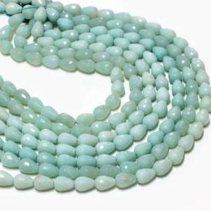 "Shop Amazonite Faceted Beads! Amazonite beads,faceted beads,teardrop beads,drop beads,blue beads,natural gem beads,round drop beads – AA Quality – 16"" Full Strand 