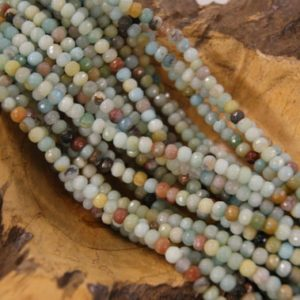 Shop Amazonite Faceted Beads! Amazonite Faceted Rondelle Shaped Natural Gemstone Bead-Assorted Sizes~ -15.5 inch strand   Natural genuine faceted Amazonite beads for beading and jewelry making.  #jewelry #beads #beadedjewelry #diyjewelry #jewelrymaking #beadstore #beading #affiliate #ad