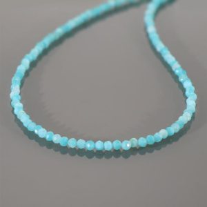 Shop Amazonite Necklaces! Amazonite Beaded Necklace /Sea Blue Gemstone Beads/ 18 Inch /Natural Amazonite 3mm Faceted Round Beads Necklace/Peruvian Amazonite necklace | Natural genuine Amazonite necklaces. Buy crystal jewelry, handmade handcrafted artisan jewelry for women.  Unique handmade gift ideas. #jewelry #beadednecklaces #beadedjewelry #gift #shopping #handmadejewelry #fashion #style #product #necklaces #affiliate #ad