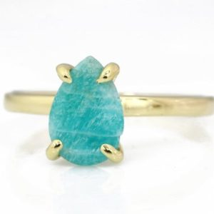 Amazonite ring,teardrop ring,gemstone ring,gold filled ring,gold ring for women,pear stone ring,semiprecious ring,custom rings | Natural genuine Amazonite rings, simple unique handcrafted gemstone rings. #rings #jewelry #shopping #gift #handmade #fashion #style #affiliate #ad