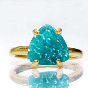 triangle gemstone ring,gemstone jewelry,amazonite ring,blue stone ring,stacking ring,gold ring,stackable rings | Natural genuine Amazonite rings, simple unique handcrafted gemstone rings. #rings #jewelry #shopping #gift #handmade #fashion #style #affiliate #ad