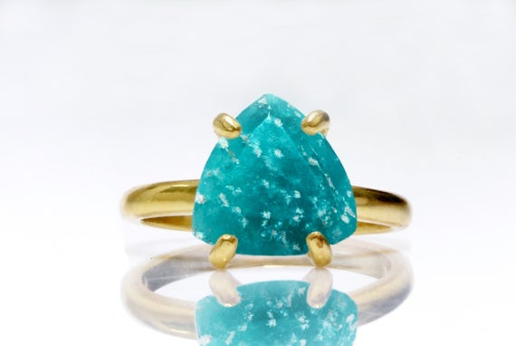 Triangle Gemstone Ring,gemstone Jewelry,amazonite Ring,blue Stone Ring,stacking Ring,gold Ring,stackable Rings