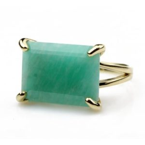 Shop Amazonite Rings! Wide Amazonite Ring · Rectangle Ring · Gemstone Ring · 14k Gold Ring · Custom Size Rings For Women · Rectangular Rings · Emerald Cut Ring | Natural genuine Amazonite rings, simple unique handcrafted gemstone rings. #rings #jewelry #shopping #gift #handmade #fashion #style #affiliate #ad