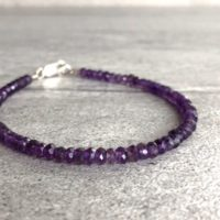 "Amethyst Bead Bracelet | Purple Natural Crystal Bracelet | Faceted Amethyst Jewelry | 6"" 7"" 8"" 9"" Gold Or Silver Clasp Bracelet 