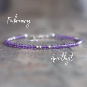 Skinny Amethyst Bracelet, February Birthstone Bracelet, Birthday Gifts for Her, Dainty Bracelet, Gemstone Bracelets for Women | Natural genuine Amethyst bracelets. Buy crystal jewelry, handmade handcrafted artisan jewelry for women.  Unique handmade gift ideas. #jewelry #beadedbracelets #beadedjewelry #gift #shopping #handmadejewelry #fashion #style #product #bracelets #affiliate #ad