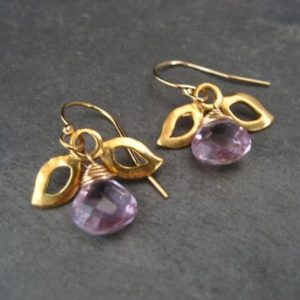 Shop Amethyst Earrings! Amethyst earrings, leaf dangle, light purple dangle, genuine stones, briolette beads | Natural genuine Amethyst earrings. Buy crystal jewelry, handmade handcrafted artisan jewelry for women.  Unique handmade gift ideas. #jewelry #beadedearrings #beadedjewelry #gift #shopping #handmadejewelry #fashion #style #product #earrings #affiliate #ad