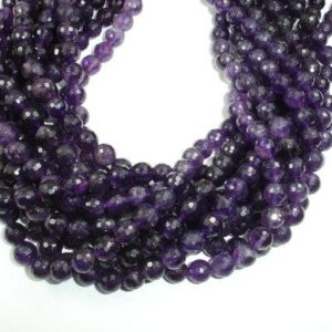 Shop Amethyst Faceted Beads! Amethyst Beads, 8mm Faceted Round Beads, 15.5 Inch, Full strand, Approx 48 beads, Hole 1mm, A- quality (115025006) | Natural genuine faceted Amethyst beads for beading and jewelry making.  #jewelry #beads #beadedjewelry #diyjewelry #jewelrymaking #beadstore #beading #affiliate #ad