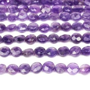 "Shop Amethyst Faceted Beads! Amethyst beads,coin beads,faceted coins,purple coins,round coin beads,semiprecious beads,8mm beads,coin jewelry  – 16"" Full Strand 
