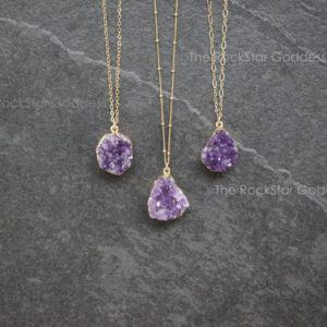 Gold Amethyst Necklace /  Druzy Necklace / Raw Amethyst Necklace  / Amethyst Jewelry / February Birthstone / Mothers Day Gift / Gift for Mom | Natural genuine Amethyst jewelry. Buy crystal jewelry, handmade handcrafted artisan jewelry for women.  Unique handmade gift ideas. #jewelry #beadedjewelry #beadedjewelry #gift #shopping #handmadejewelry #fashion #style #product #jewelry #affiliate #ad