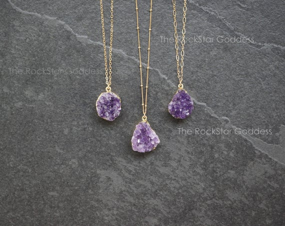 Gold Amethyst Necklace /  Druzy Necklace / Raw Amethyst Necklace  / Amethyst Jewelry / February Birthstone / Mothers Day Gift / Gift For Mom