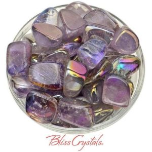 Shop Tumbled Amethyst Crystals & Pocket Stones! 1 MedLrg AMETHYST Rainbow Aura Tumbled Stone (8 – 11 gm) aka Opal Aura Quartz  Healing Crystal and Stone Meditation Joy Intuition #AA01 | Natural genuine stones & crystals in various shapes & sizes. Buy raw cut, tumbled, or polished gemstones for making jewelry or crystal healing energy vibration raising reiki stones. #crystals #gemstones #crystalhealing #crystalsandgemstones #energyhealing #affiliate #ad
