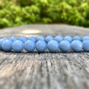 Shop Angelite Bracelets! Angelite Beaded Bracelet 8mm Anhydrite Beaded Gemstone Bracelet Stack Bracelet Beaded Gift Bracelet Healing Bracelet Protection Bracelet | Natural genuine Angelite bracelets. Buy crystal jewelry, handmade handcrafted artisan jewelry for women.  Unique handmade gift ideas. #jewelry #beadedbracelets #beadedjewelry #gift #shopping #handmadejewelry #fashion #style #product #bracelets #affiliate #ad
