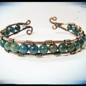 Shop Apatite Bracelets! Copper And Apatite Wire Wrapped Cuff Bracelet | Natural genuine Apatite bracelets. Buy crystal jewelry, handmade handcrafted artisan jewelry for women.  Unique handmade gift ideas. #jewelry #beadedbracelets #beadedjewelry #gift #shopping #handmadejewelry #fashion #style #product #bracelets #affiliate #ad