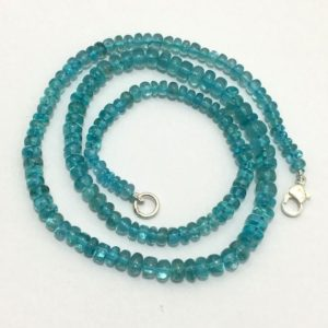 "Shop Apatite Necklaces! 105 Cts  Natural Apatite 4x6mm Plain Rondelle 18"" Gemstone Beaded Necklace  92.5 silver Clasp/Apatite Beads/Blue Beads 