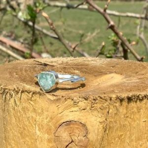 Shop Apatite Rings! Raw Gemstone Silver Ring with Blue Apatite, Rough Natural Gemstone Silver Ring, Boho Womens Jewellery | Natural genuine Apatite rings, simple unique handcrafted gemstone rings. #rings #jewelry #shopping #gift #handmade #fashion #style #affiliate #ad