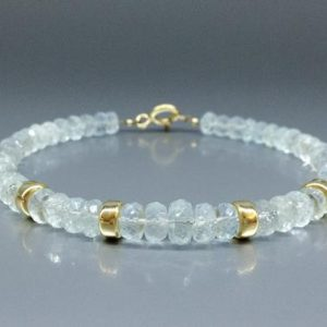 Bracelet Aquamarine with 14K gold – unique gift for her – light blue natural gemstone – elegant bridal jewelry -March birthstone-anniversary | Natural genuine Array jewelry. Buy handcrafted artisan wedding jewelry.  Unique handmade bridal jewelry gift ideas. #jewelry #beadedjewelry #gift #crystaljewelry #shopping #handmadejewelry #wedding #bridal #jewelry #affiliate #ad