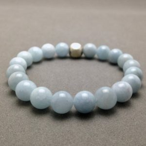 Shop Aquamarine Bracelets! 8mm Aquamarine and Karen Hill Tribe Silver Stretch Bead Bracelet   Natural genuine Aquamarine bracelets. Buy crystal jewelry, handmade handcrafted artisan jewelry for women.  Unique handmade gift ideas. #jewelry #beadedbracelets #beadedjewelry #gift #shopping #handmadejewelry #fashion #style #product #bracelets #affiliate #ad