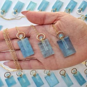 Shop Aquamarine Jewelry! ONE High Quality Aquamarine Essential Oil Bottle Necklace, 14kt Gold Plated – Essential Oil Bottles – Crystal Jewelry No.55A | Natural genuine Aquamarine jewelry. Buy crystal jewelry, handmade handcrafted artisan jewelry for women.  Unique handmade gift ideas. #jewelry #beadedjewelry #beadedjewelry #gift #shopping #handmadejewelry #fashion #style #product #jewelry #affiliate #ad