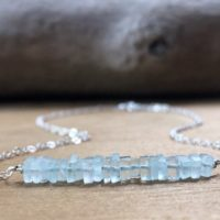 Raw Aquamarine Crystal Bar Necklace – March Birthstone Necklace – Aquamarine Jewelry – Pisces Necklace – Throat Chakra Necklace | Natural genuine Gemstone jewelry. Buy crystal jewelry, handmade handcrafted artisan jewelry for women.  Unique handmade gift ideas. #jewelry #beadedjewelry #beadedjewelry #gift #shopping #handmadejewelry #fashion #style #product #jewelry #affiliate #ad
