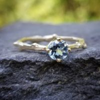 Aquamarine Engagement Ring, Solitaire Aquamarine Ring, Gold Aquamarine Wedding Ring, Rose Gold Twig Engagement Ring, Unique Engagement Rings | Natural genuine Gemstone jewelry. Buy handcrafted artisan wedding jewelry.  Unique handmade bridal jewelry gift ideas. #jewelry #beadedjewelry #gift #crystaljewelry #shopping #handmadejewelry #wedding #bridal #jewelry #affiliate #ad