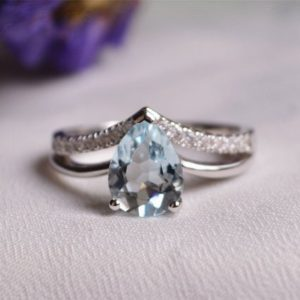 7*9 mm Pear Aquamarine Ring Aquamarine Engagement Ring/ Wedding Ring Anniversary Ring Promise Ring | Natural genuine Array rings, simple unique alternative gemstone engagement rings. #rings #jewelry #bridal #wedding #jewelryaccessories #engagementrings #weddingideas #affiliate #ad