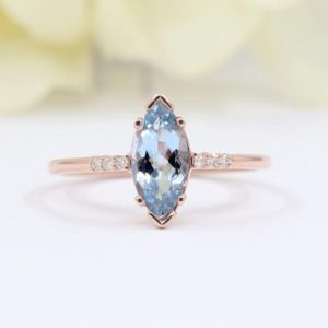 Natural Aquamarine Engagement Ring.Aquamarine Solitaire Wedding Ring.Bridal Ring.14K Solid Gold.Diamond Ring.Marquise Aquamarine Ring. | Natural genuine Array rings, simple unique alternative gemstone engagement rings. #rings #jewelry #bridal #wedding #jewelryaccessories #engagementrings #weddingideas #affiliate #ad