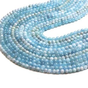"Shop Aquamarine Round Beads! Round aquamarine beads,semiprecious beads,March birthstone beads,natural beads,genuine aquamarine,diy beads,jewelry supplies – 16"" Strand 