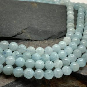 Natural Blue Round Aquamarine beads / 8 mm approx/ Soft Pale Blue Gemstone Beads / Tonal variance | Natural genuine round Aquamarine beads for beading and jewelry making.  #jewelry #beads #beadedjewelry #diyjewelry #jewelrymaking #beadstore #beading #affiliate #ad