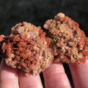 """Shop Raw & Rough Aragonite Stones! 3"""" Aragonite Druzy Cluster Bicolor Large Aragonite Star Sputnik from Morocco Orange and White  #9 