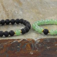 8mm Green Aventurine & Volcanic Lava, Yoga Wrist Mala Beads, Healing Crystals, Good Luck-opening The Heart Chakra – Abundance – Prosperity | Natural genuine Gemstone jewelry. Buy crystal jewelry, handmade handcrafted artisan jewelry for women.  Unique handmade gift ideas. #jewelry #beadedjewelry #beadedjewelry #gift #shopping #handmadejewelry #fashion #style #product #jewelry #affiliate #ad